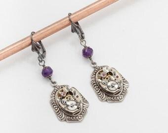 Steampunk Earrings Vintage Watch Movements with Genuine Purple Amethyst, silver filigree, Victorian flower dangle Earrings Jewelry Gift
