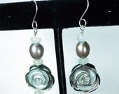 Frosted Rose Abalone and Moonstone Earrings