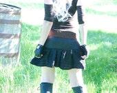 Dress - Steampunk - Burning Man - Long Tunic - Bohemian Pixie - Gypsy Cottage Chic - Victorian Black Ruffles - Mini Dress - Size Large