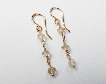 Lemon Quartz Earrings - Gold Filled Beaded Dangle Earrings Beadwork Earrings Drop Earrings