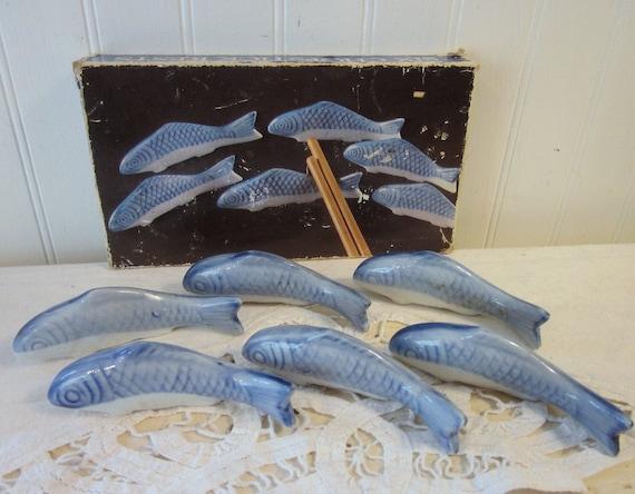 6 Fish Chopstick Rests, Holders. Blue and white porcelain. Original box. Canton Express.