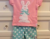 Easter Bunny Rabbit Applique Shirt...Ready for Delivery...Sizes Available 18m, 2, 4, 6, and 8