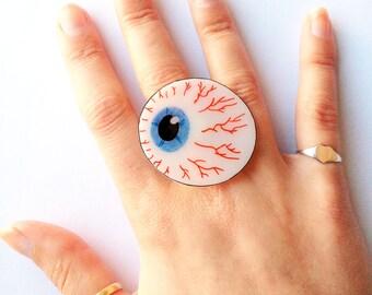 Eyeball Ring -  Halloween, Spooky Eye, Brown, Blue, Green, Zombie, Bones, Skeletal, X Ray, Anatomical, Optical, Optician
