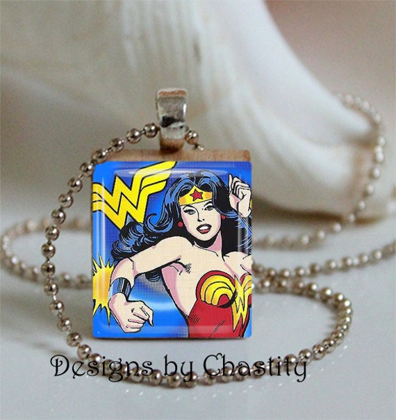 "Items Similar To Wonder Woman Scrabble Necklace ""Blue"" On Etsy"