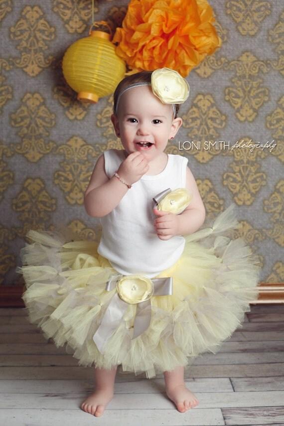 Baby Girls Birthday Tutu Dress Outfit, Yellow and Grey Flower Girl Dress Tutu