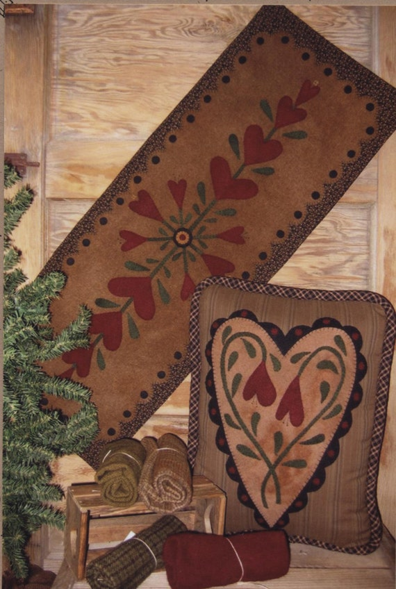 Blooming Hearts Pattern For Wool Applique
