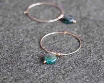 kyanite hoop earrings . lagoon