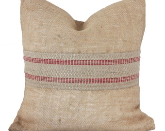 Burlap Pillow Cover // Burlap and Red Jute Webbing Pillow// Modern Burlap Pillow // Decorative Pillow // ONE 16x16 inch - Free U.S. Shipping