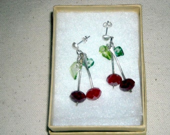 Cherries and Sterling Silver Post Earrings 1.75 inches Handmade USA Rockabilly Jewelry