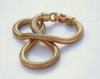 Vintage Modern Gold Snake Necklace - Egyptian Revival