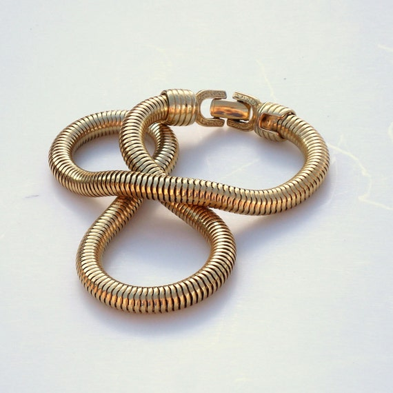 Vintage Modern Gold Snake Necklace - Egyptian Revival