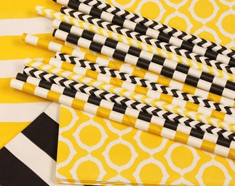 Paper Straws, 25 YELLOW / BLACK Paper Straws, Party Paper Straws, Bee Parties, Construction party, Yellow Taxi Cab, Sports, Party Straws