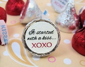 "It Started With A Kiss Wedding Round Candy Stickers Labels Favors - Set of 192 Stickers, 3/4"" Custom Circle Stickers"