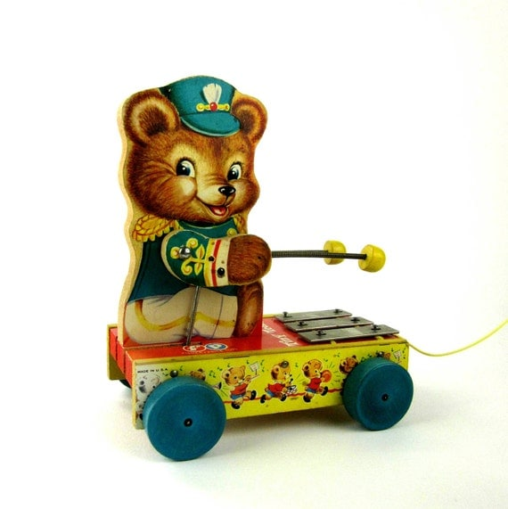 Fisher Price Tiny Teddy Chime Pull Toy 1962 by AttysSproutVintage