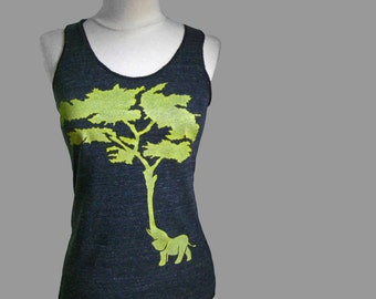 Women's Elephant Tree Racerback Tank Gray