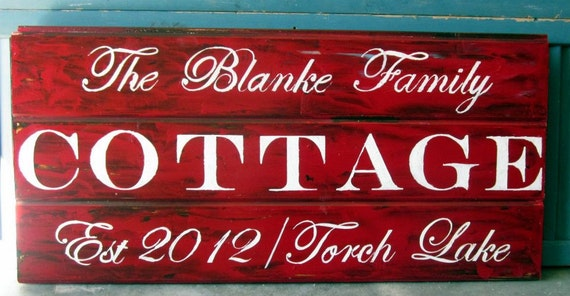 Cottage Sign with family name and established date, personalized and custom, custom cottage sign, cottage decor, wood sign