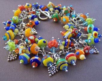 Fruit Salad Charm Bracelet - Lampwork Glass Bead and Sterling Loaded Charm