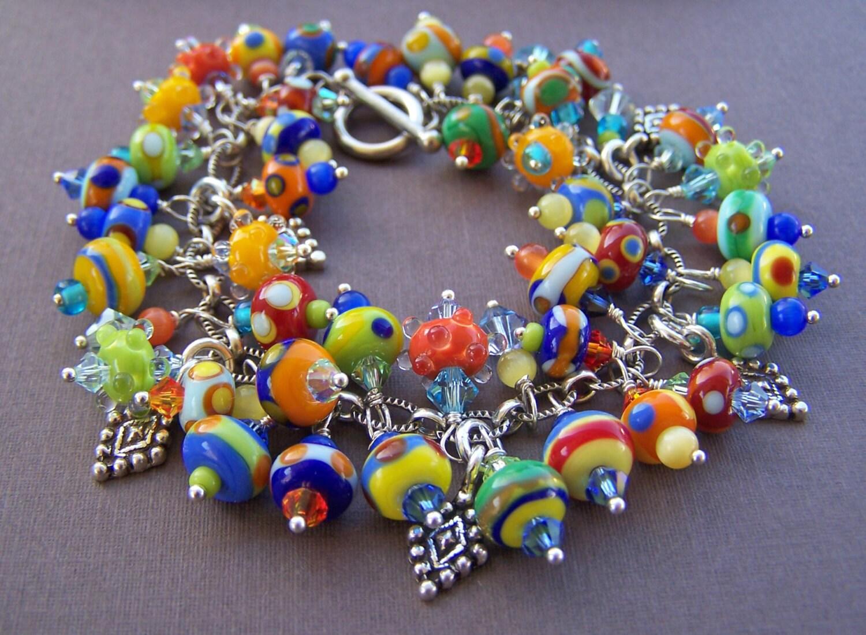 Fruit salad charm bracelet lampwork glass bead and sterling