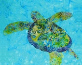 "Cool Green Blue HONU Sea TURTLE No Border - 12.5"" Organic Cotton Sateen Batik Fabric Quilt Panel Block"