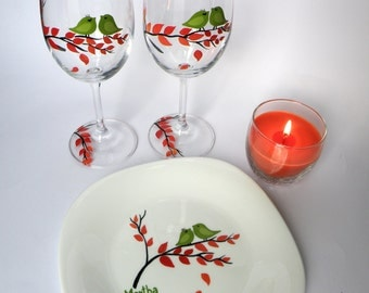 Fall Hand painted wedding set of Wine glasses and plate Green birds on branch