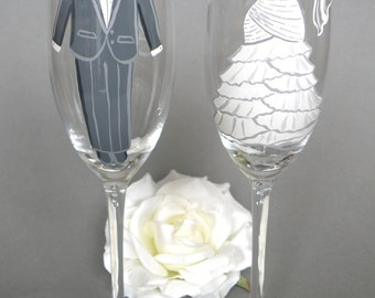 Hand painted Bride and Groom bridal shower party glasses Wine glasses or champagne flutes suit and dress with crystals