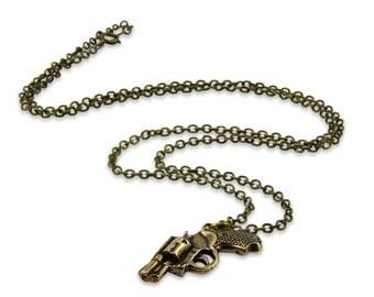 Revolver Gun Necklace - Solid Bronze