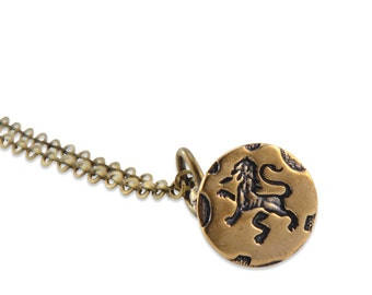 LION RAMPANT Wax Seal Stamper Necklace by Gwen Delicious Jewelry - Usable Seal Stamp