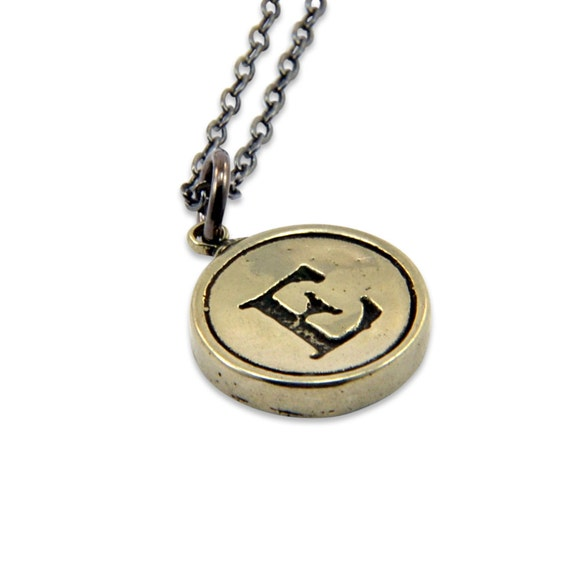 Letter E Charm Necklace - White Bronze Initial Typewriter Key Charm Necklace - Gwen Delicious Jewelry Design