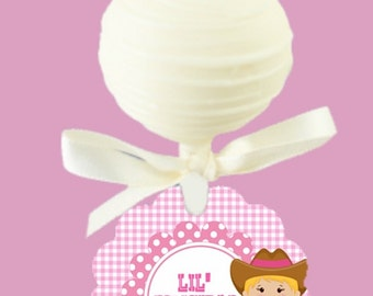 12 Cake Pop Tags, Baby Cowboy, Baby Cowgirl, Baby Gender Reveal Party, Baby Shower, Pink and Blue