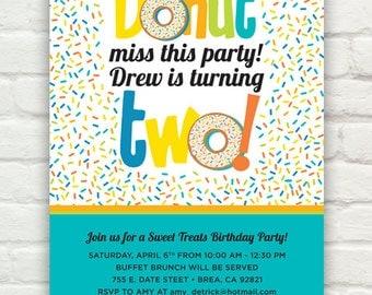 Donut Birthday Party Invitation (DIY Printable PDF Invite)