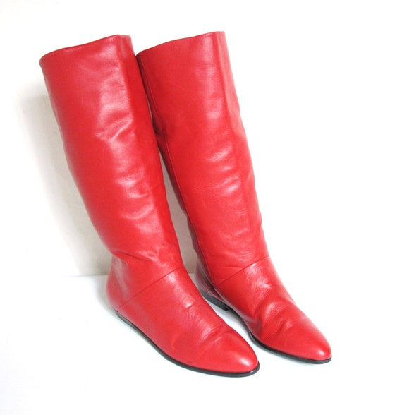 90s Lipstick Red Leather Knee Flat Pirate Boots 9 5