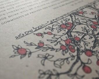 Ketubah Giclée Print by Jennifer Raichman - Branch Frame with Fruit