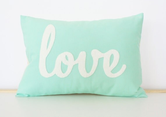 Light Teal Love Pillow - Mother's Day Gift