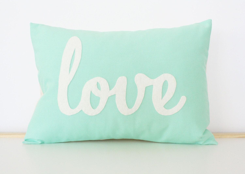 light teal love pillow mother 39 s day gift. Black Bedroom Furniture Sets. Home Design Ideas
