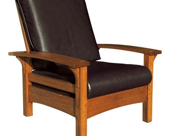 Mission Arts & Crafts Stickley style Bow Arm Morris Chair Recliner Leather New