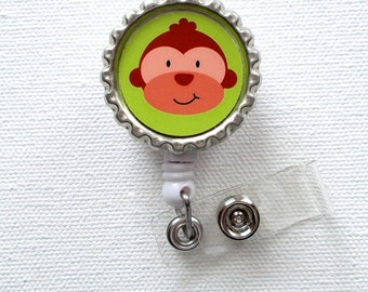 Monkey - Retractable Badge Reel - Nurses Badge Holder - Cute Badge Reel - Nurse - PICU Badge Reel - Nursing Badge