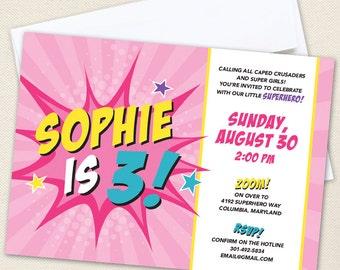 Pink Superhero Party Invitations - Professionally printed *or* DIY printable