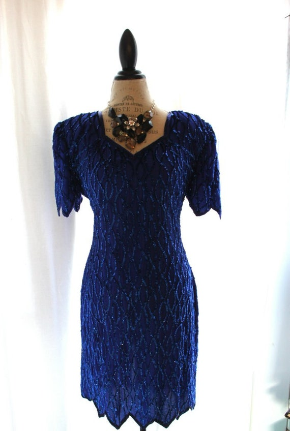 items similar to vintage beaded dress blue 80s