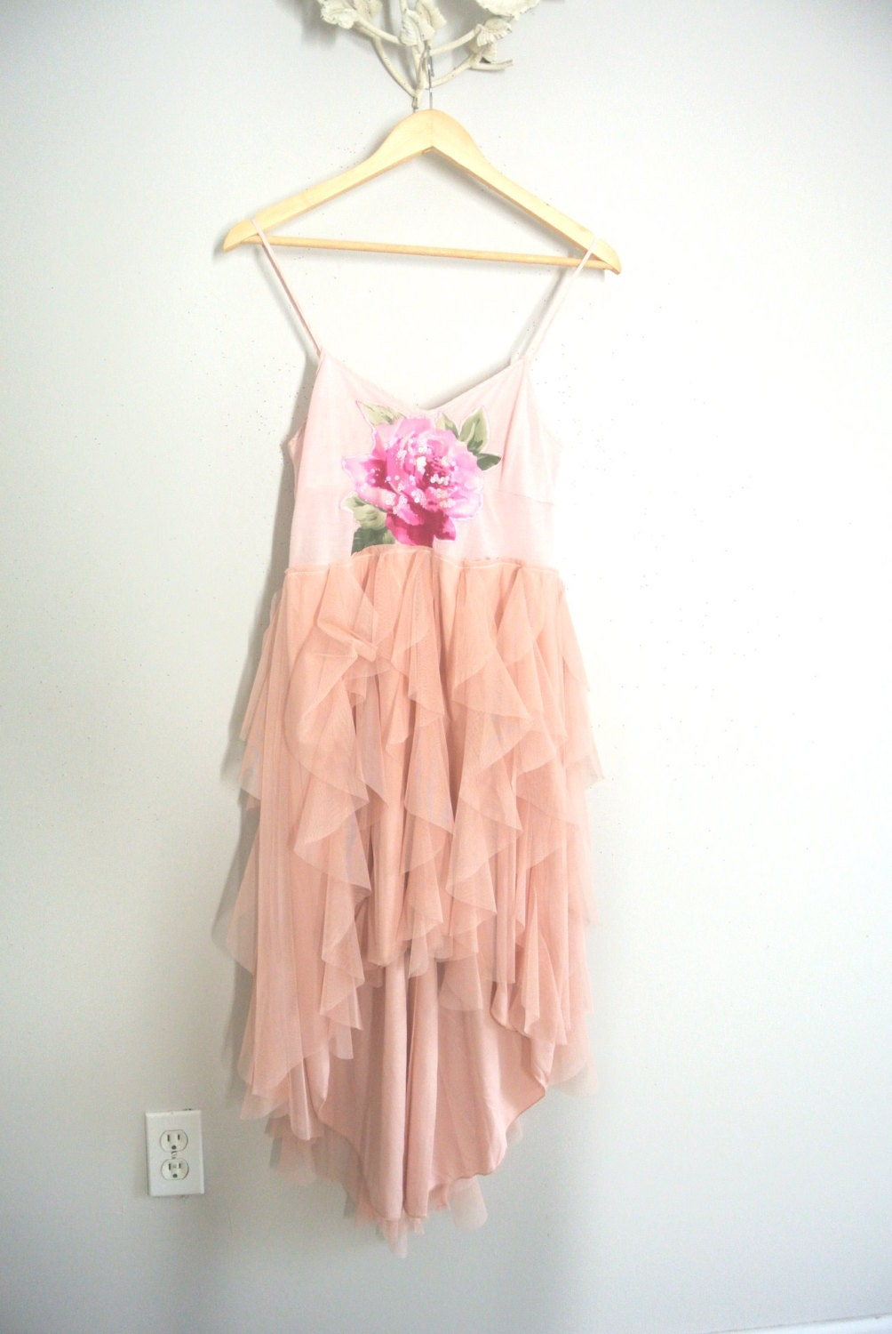 Romantic upcycled dress country pink shabby by truerebelclothing