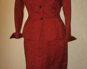 Vtg 40s Red Raw Silk Fitted Deep-V  Jacket High Waist Panel Wiggle Skirt Origami Cuffs 2pc Suit