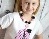 Girls Eiffel Tower Paris Shirt in Black and Pink Polka Dot with Rosette Flower Accent
