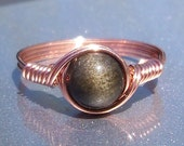 Gold Sheen Obsidian Copper Wire Wrapped Ring