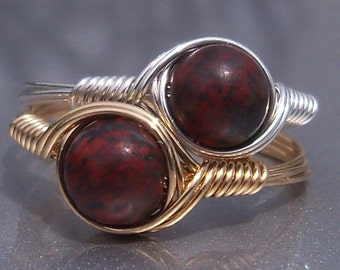 Brecciated Jasper Argentium Sterling Silver or 14k Gold Filled Wire Wrapped Ring