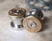 45 bullet ear gauges Bullet Plug Earrings Bullet Shell u pick your gauge ... Two Tone Gold & Silver bullet gauges, bullet guages