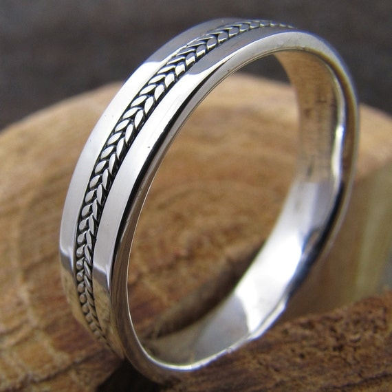 mens silver inlayed ring wedding band by dogskinjewelry on With etsy mens wedding rings
