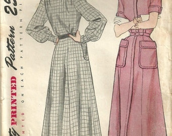 Vintage 40s Sewing Pattern / Simplicity 2586 / Dress / Size 16 Bust 34