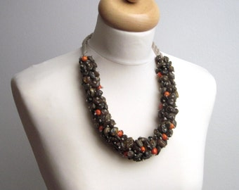 Raw Stone Statement  Necklace OOAK Earthy Brown Red Orange Baltic Amber Eco Friendly Jewelry Natural