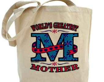 MOM - World's Greatest Mother - Cotton Canvas Tote - Mother's Day Tote - Gift Bags