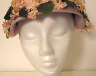 Vintage 1950s Beautiful Handmade Pink Flower Covered Hat