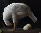Fine Art Photography of a White Hen